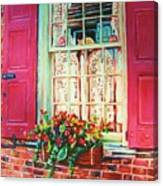 Flower Box  And Pink Shutters Canvas Print