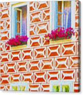 Flower Boxes In Slavonice Canvas Print