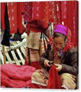 Flower Hmong Fabric Stall Canvas Print