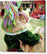 Flower Hmong Mother And Baby 02 Canvas Print
