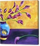 Flowers In Blue Vase Canvas Print