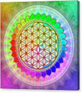 Flower Of Live - Rainbow Lotus 2 Canvas Print