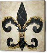 Flower Of New Orleans Black And Gold Canvas Print
