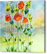 Flower Patch With Butterfly Canvas Print