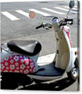 Flower Power For A Montreal Motor Scooter Canvas Print