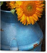 Flower - Sunflower - Little Blue Sunshine  Canvas Print