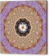 Flower With Wood Embroidery Canvas Print