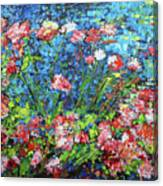 Flowering Shrub In Pink On Bright Blue 201676 Canvas Print