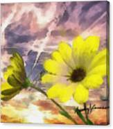 Flowers Against A Busy Sky Canvas Print
