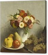 Flowers And Fruit 1865 Canvas Print