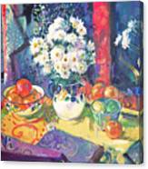 Flowers And Fruit In A Green Bowl Canvas Print