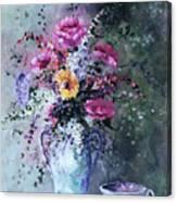 Flowers And Tea Canvas Print