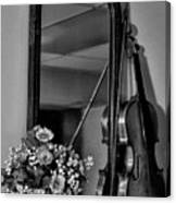 Flowers And Violin In Black And White Canvas Print