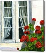 Flowers At The Window Canvas Print