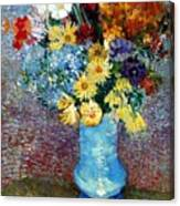 Flowers In A Blue Vase  Canvas Print