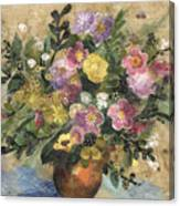 Flowers In A Clay Vase Canvas Print