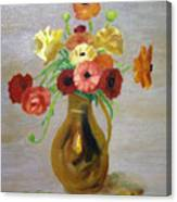Flowers In A Pitcher -11 Yrs Old Canvas Print