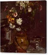 Flowers In A Vase And A Glass Of Champagne Canvas Print