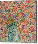 Flowers In Crystal Vase. Canvas Print