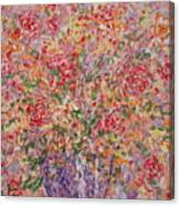 Flowers In Purple Vase. Canvas Print
