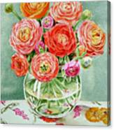 Flowers In The Glass Vase Canvas Print