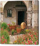 Flowers In The South Wing, Mission San Juan Capistrano, California Canvas Print