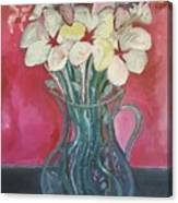 Flowers Inside Glass Pitcher Canvas Print
