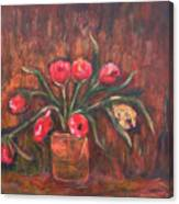Flowers Of Pink In Vase Canvas Print