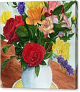 Flowers On A Cat Dish Canvas Print