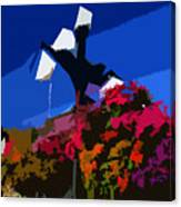 Flowers On Lamppost Canvas Print