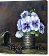Flowers,pansies Still Life Canvas Print