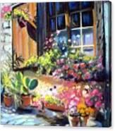 Flowery Window Of France Canvas Print