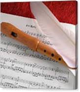 Flute And Feather Canvas Print