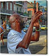Flute Musician In New Orleans Canvas Print