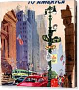 Fly Bcpa To America Vintage Poster Restored Canvas Print
