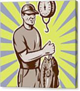 Fly Fisherman Weighing In Fish Catch  Canvas Print