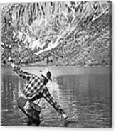 Fly Fishing In A Mountain Lake Canvas Print