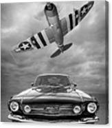 Fly Past - 1966 Mustang With P47 Thunderbolt In Black And White Canvas Print