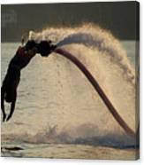 Flyboarder About To Enter Water With Hands Canvas Print