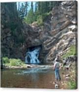 Flyfishing At Trick Falls In Glacier National Park Canvas Print