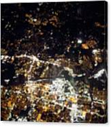Flying At Night Over Cities Below Canvas Print