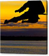 Flying Kick Over Muskegon Lake Canvas Print