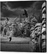 Flying Ravens And Totem Poles In Black And White Canvas Print