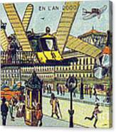 Flying Taxicabs, 1900s French Postcard Canvas Print