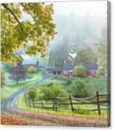 Fog On Sleepy Hollow Farm Canvas Print