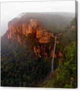 Fog Sunrise And Waterfalls Canvas Print