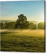 Foggy Autumn Morning On The Farm Canvas Print