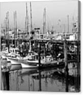 Foggy Boats Canvas Print