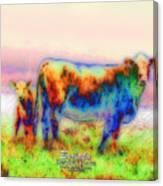 Foggy Mist Cows #0090 Arty Canvas Print