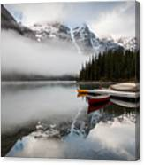 Foggy Morning At Moraine Lake Canvas Print